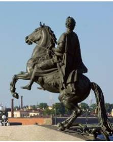 'The Bronze Horseman' in Senate Square, one of the best-known symbols of St Petersburg and a memorial to Peter the Great (Tsar of Russia, 1682-1725)