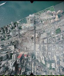 An aerial view of the former World Trade Center site, taken after the 11 September terrorist attacks