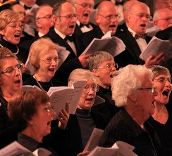 'Hallelujah!' Members of TRBC sing their hearts out in the Basilika St Aposteln, Cologne, in December 2011