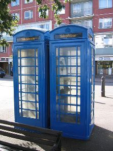 Guernsey's distinctive blue telephone boxes (photo: Alan Ford from Wikimedia Commons)