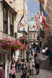 The High Street in St Peter Port (image courtesy of VisitGuernsey)